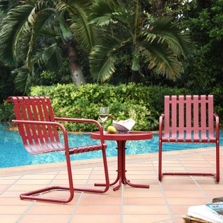 Gracie Coral Red Metal 3 Piece Outdoor Conversation Seating Set