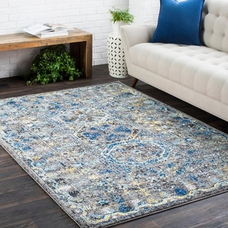Traditional Colonial Vintage Blue and Grey (9'3 x 12'6)