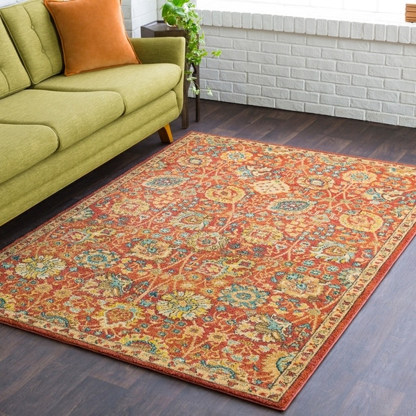 Shop Ada Orange Southwestern Floral Area Rug 9 3 Quot X 12 6