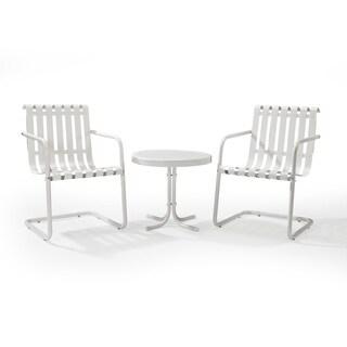Gracie Alabaster White Metal 3 Piece Outdoor Conversation Seating Set