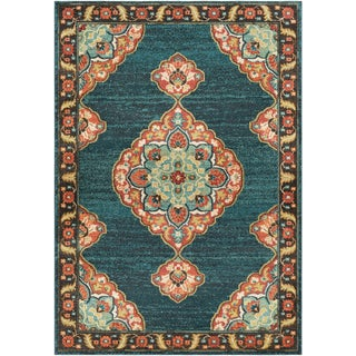 The Curated Nomad Telegraph Hill Traditional Teal Area Rug - 93 x 126 (Teal - 93 x 126)