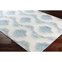Contemporary Geometric White/Blue Wool and Nylon Area Rug (9' x 12')