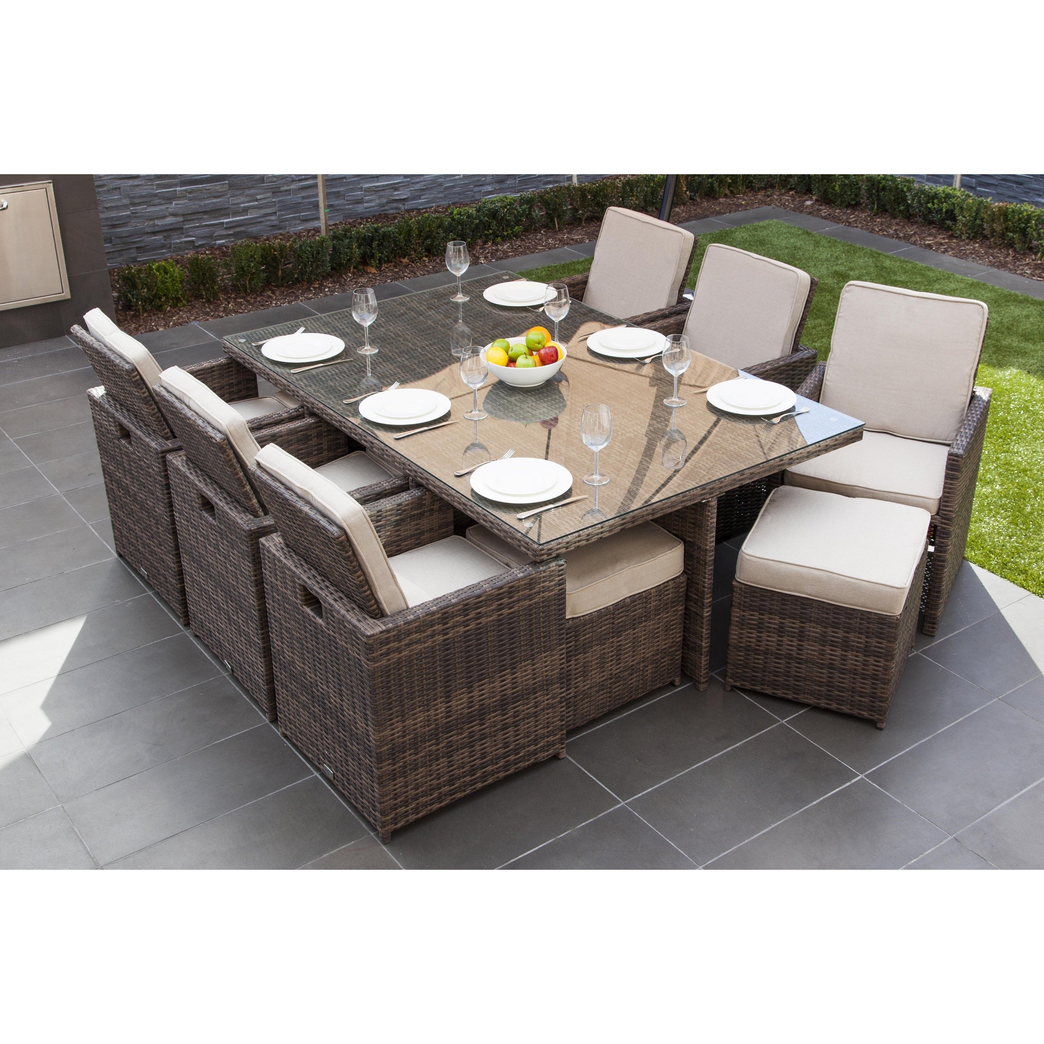 Shop Malta 11 Piece Outdoor Wicker Dining Table And Cushion Set By Direct Wicker Overstock 15963652