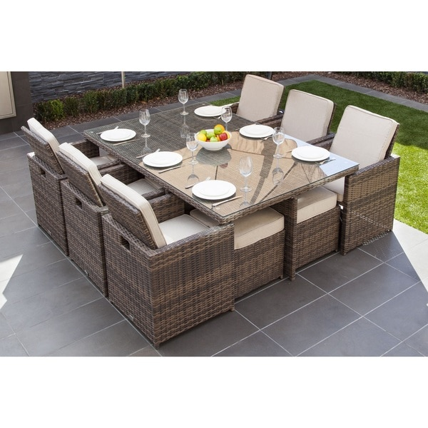 Shop Malta 11-piece Outdoor Wicker Dining Table and Cushion Set by ...