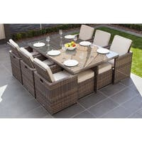 Malta 11-piece Outdoor Wicker Dining Table and Cushion Set by Direct Wicker