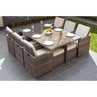 Malta 11 Piece Outdoor Wicker Dining Table And Cushion Set By Direct Wicker