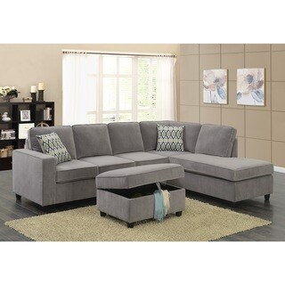 LYKE Home Courtlee Reversible Sectional and Storage Ottoman