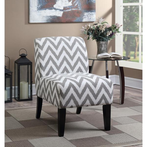 LYKE Home Panama Grey Fabric Chevron Patterned Accent Chair
