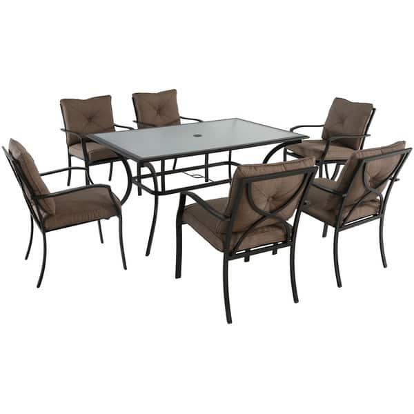 Cambridge Crawford Tan Cushion Steel 7 Piece Outdoor Dining Set Overstock 15963669