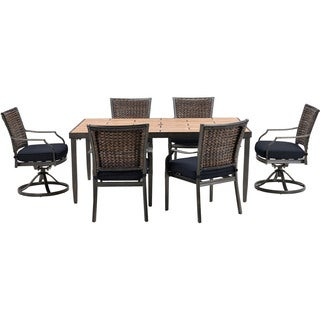 Cambridge Dover Aluminum 7-piece Dining Set with Navy Cushions