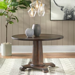 Pedestal Kitchen Table Pedestal kitchen dining room tables for less overstock simple living atwood pedestal table brown workwithnaturefo