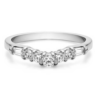 10k Gold Elaborate Slightly Curved Wedding Ring mounted with Cubic Zirconia (0.42 Cts. twt)