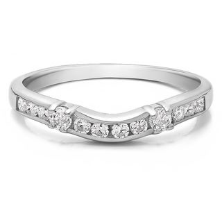 10K Gold Embellished Classic Contour Band mounted with White Sapphire (0.33 Cts. twt)
