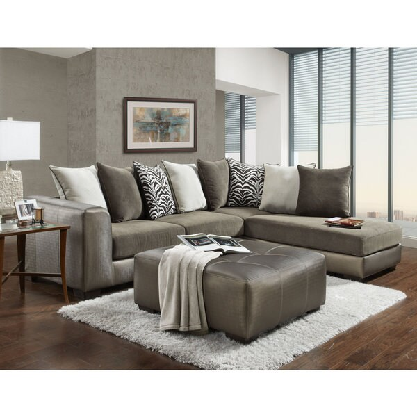 Shimmer Magnee Microfiber Champagne Sectional Sofa And Ottoman