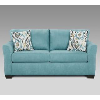 Mazemic Capri Blue Microfiber 2-seater Loveseat with Pillows