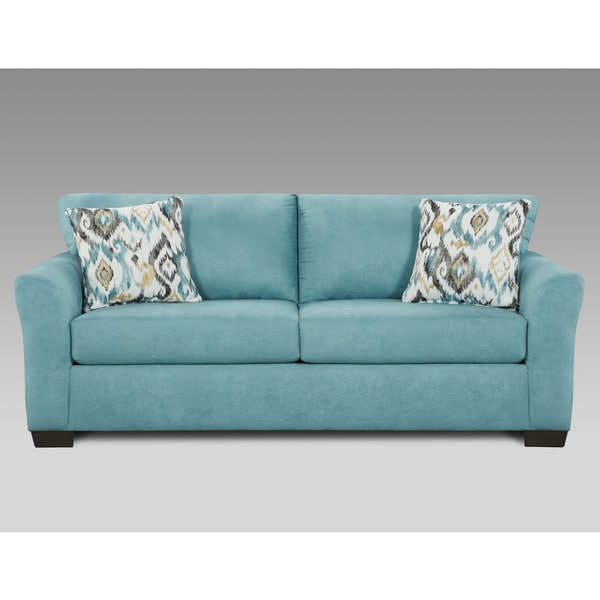 Shop Mazemic Capri Blue Microfiber 2-seater Sofa - Free Shipping ...