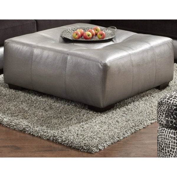 Shop Shimmer Pewter Silver Ottoman Free Shipping Today