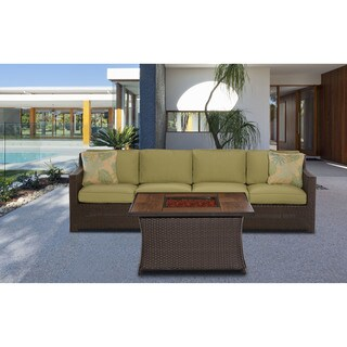 Cambridge Haven 3-Piece Loveseat Set with Woven Fire Pit in Green