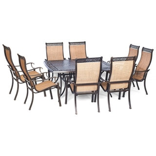 Cambridge Legacy Tan Aluminum 9-piece Outdoor Dining Set with Large Square Table