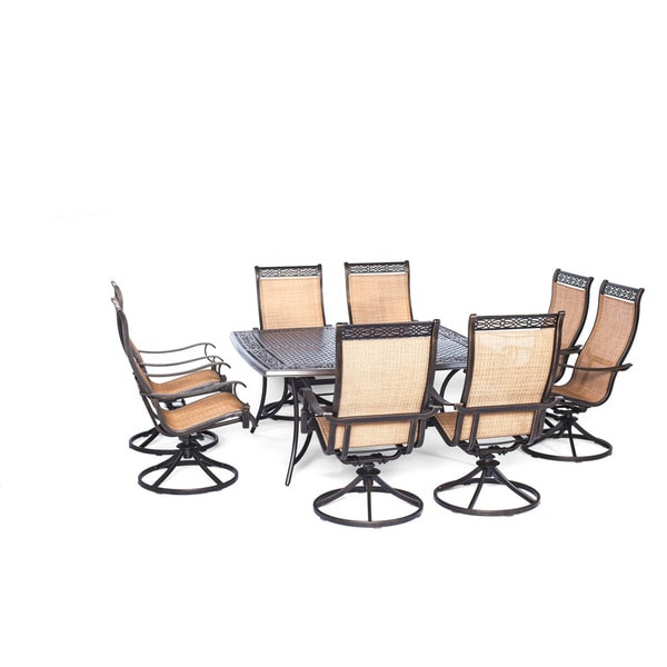 Cambridge Legacy 9-Piece Outdoor Dining Set with Large Square Table and Eight Swivel Rockers