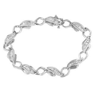 White Platinum 2.18 ct. TDW Baguette-Cut Diamond Love Link Bracelet (H-I,SI1-I2)