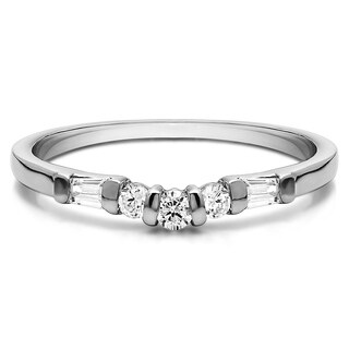 Platinum Classic Contour Style Wedding Ring mounted with Diamonds (G-H, SI2-I1) (0.33 Cts. twt)