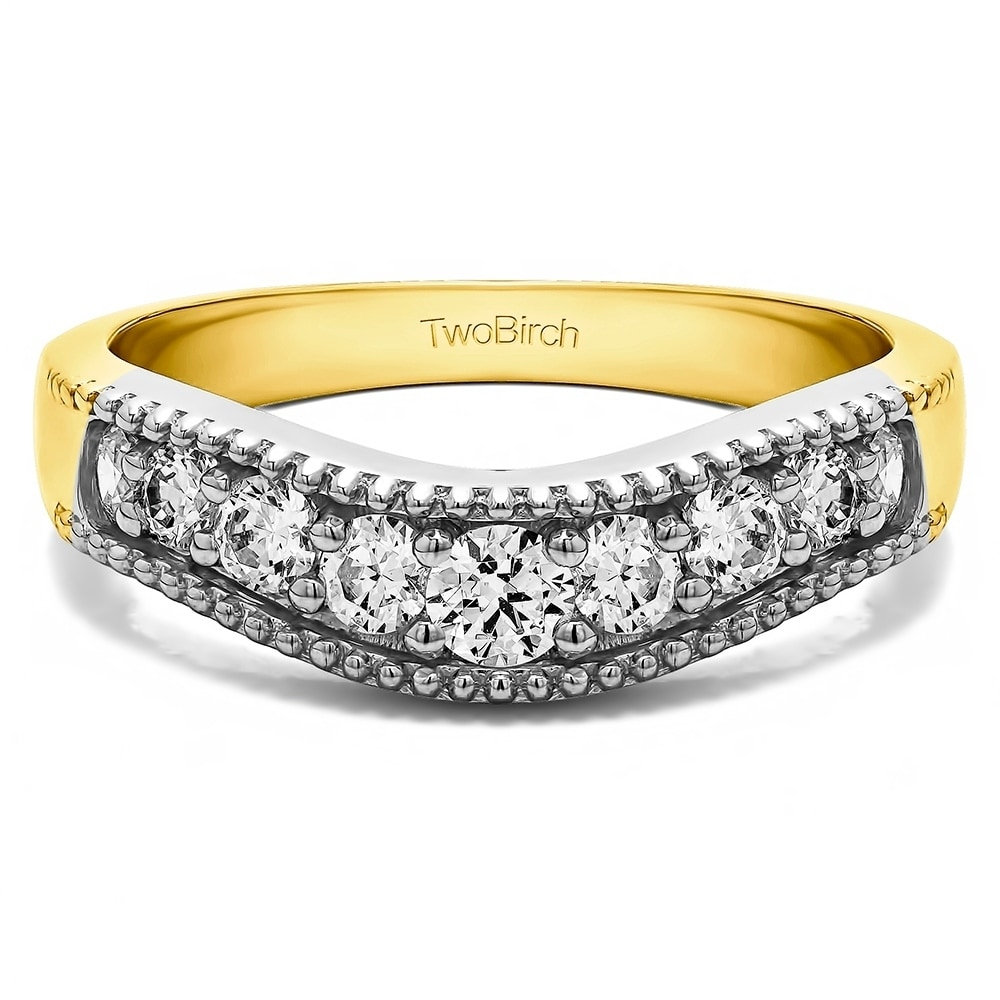 Size-7 Diamond Wedding Band in 10K Pink Gold 1//10 cttw, G-H,I2-I3