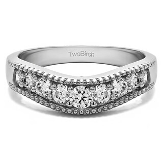Platinum Vintage Style Contour Wedding Ring mounted with Diamonds (G-H, SI2-I1) (0.25 Cts. twt)