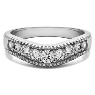 Sterling Silver Vintage Style Contour Wedding Ring mounted with Cubic Zirconia (0.42 Cts. twt)