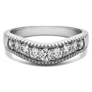 3cde49e1519 Sterling Silver Vintage Style Contour Wedding Ring mounted with Cubic  Zirconia (0.42 Cts. twt