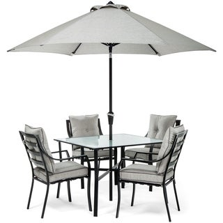 Hanover Lavallette 5-Piece Dining Set in Grey with Table Umbrella and Stand