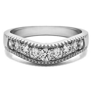 Sterling Silver Vintage Style Contour Wedding Ring mounted with White Sapphire (0.5 Cts. twt)
