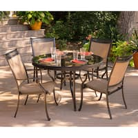 Hanover Fontana 5-Piece Dining Set with Four Stationary Dining Chairs and a 48 In. Glass-Top Dining Table