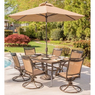 Hanover Fontana 7-Piece Dining Set with Six Swivel Rocking Chairs, a Tile-Top Dining Table, 9 Ft. Umbrella and Umbrella Stand
