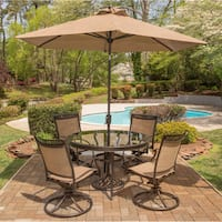Hanover Fontana 5-Piece Dining Set with Four Sling Swivel Rockers, a 48 In. Glass-Top Dining Table, a 9 Ft. Umbrella and Stand