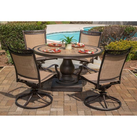 Hanover Fontana 5-Piece Outdoor Dining Set with Four Swivel Rockers and a 51 In. Tile-top Dining Table