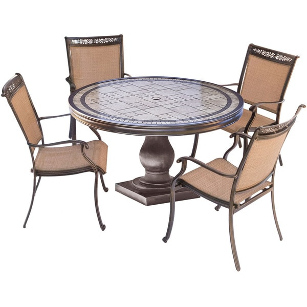 Garden Oasis Providence 5 Piece Swivel Dining Set: Shop Hanover Fontana Aluminum 5-piece Outdoor Dining Set