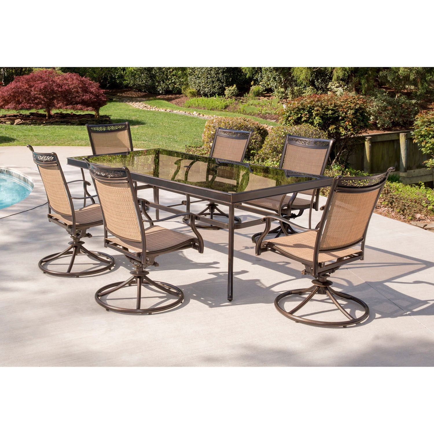 Dining Set With Six Sling Swivel