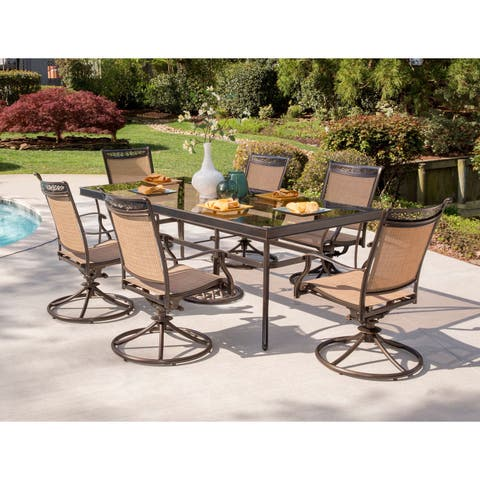 Hanover Fontana 7-Piece Dining Set with Six Sling Swivel Rockers and an Extra Large Glass-top Dining Table