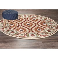 LR Home Dazzle Ivory and Red Indoor Area Rug ( 6 ft. Round ) - 6' x 6'