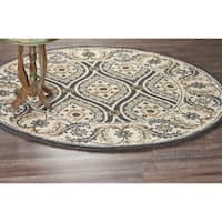 LR Home Hand Tufted Dazzle Elegant Lattice Gray Wool Rug - 6' x 6'