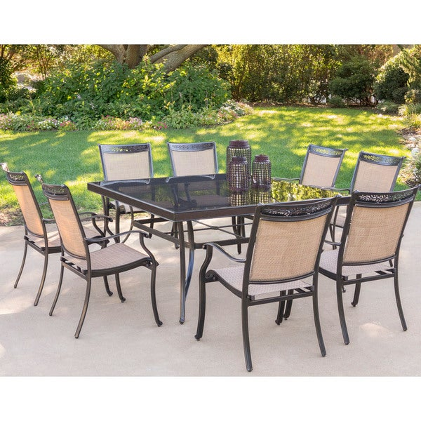 shop hanover fontana 9 piece dining set with eight dining chairs and
