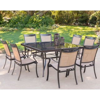 Hanover Fontana 9-Piece Dining Set with Eight Dining Chairs and a  60 In. Square Dining Table