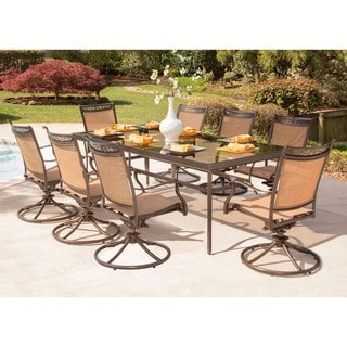 Hanover Fontana 9-Piece Dining Set with Eight Swivel Rockers and an Extra Long 42 In. x 84 In. Glass-Top Dining Table