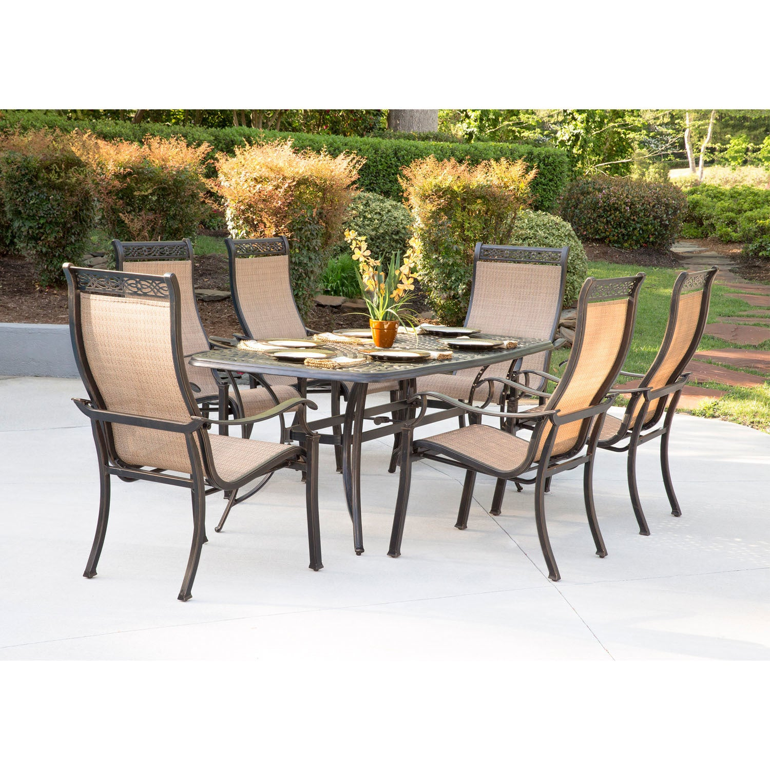 Hanover Manor 7-Piece Dining Set with Six Dining Chairs a...