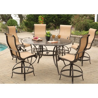 Hanover Manor 7-Piece High-Dining Bar Set with 56 In. Cast-top Table