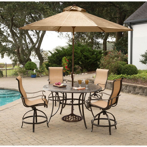Manor 5-Piece High-Dining Set with 4 Swivel Chairs, a 56 In. Cast-top Table, and a 9 Ft. Umbrella with Stand