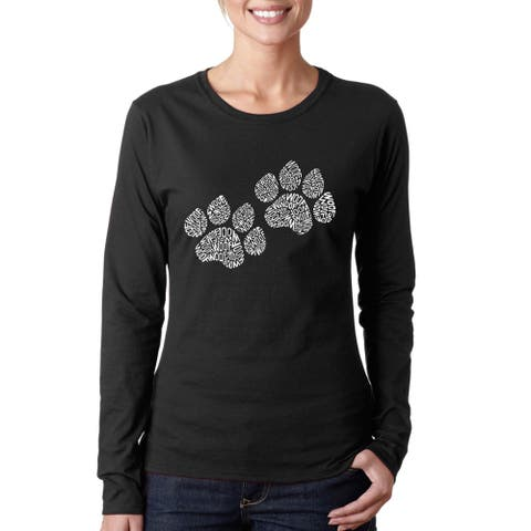 Women's Woof Paw Prints Long Sleeve T-Shirt