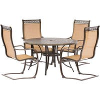 Hanover Manor 5-Piece Outdoor Dining Set with C-Spring Chairs and a Cast-top Dining Table