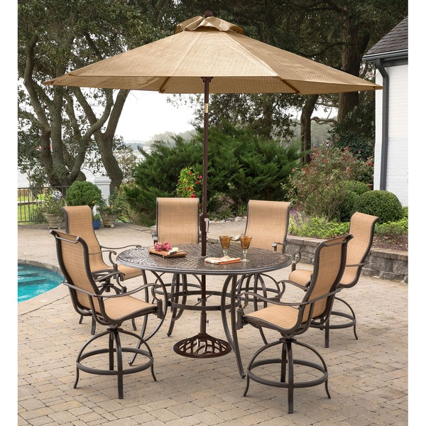 Outdoor High Table And Chair Set: Shop Manor 7-Piece High-Dining Set With 6 Contoured Swivel